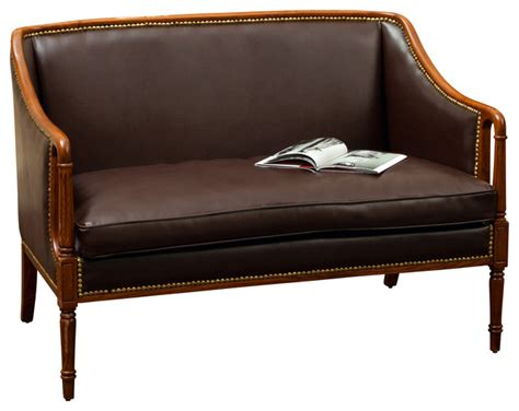 loveseat wood frame hairston brown leather wood frame loveseat traditional