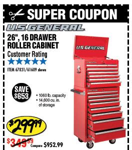 26 in 16 drawer glossy roller cabinet combo harbor freight tag notice open for 94 coupons