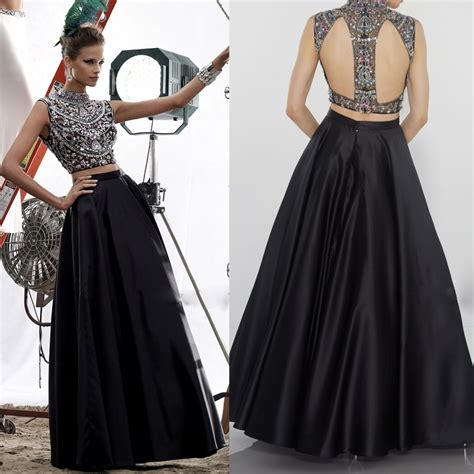 us beaded satin sleeveless dress black high neck two pieces backless prom dresses