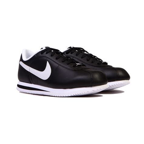 nike cortez shoes nike cortez basic leather 06 black white noir blanc