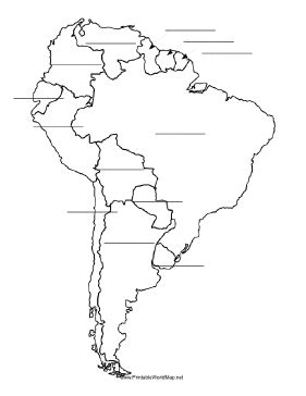 world map for students to fill in this printable map of south america has blank lines on