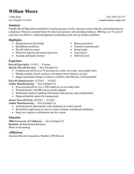 Best Payroll Specialist Resume Exle Livecareer Payroll Manager Resume Template