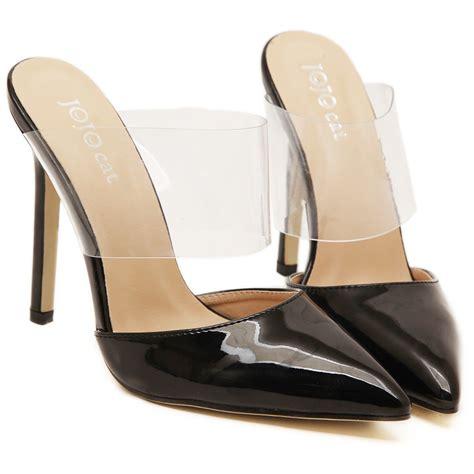 high heel slide 2015 fashion patent leather pointed toe high heel slides
