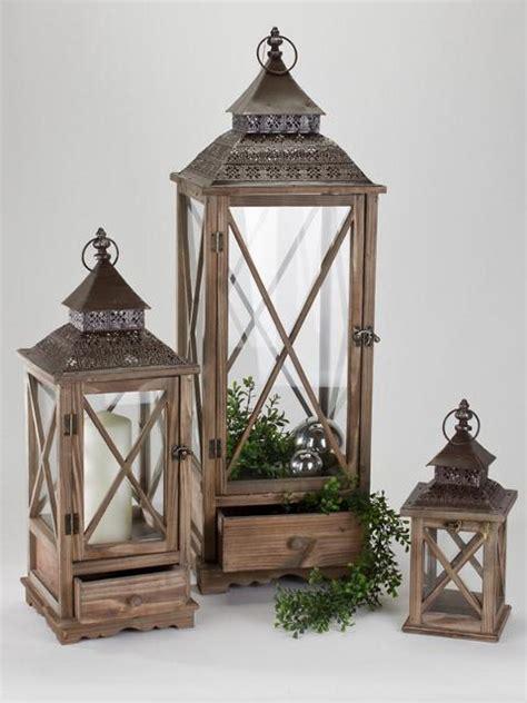 Laterne Mit Schublade Aus Holz by Formano Laterne Aus Holz Antik Mit Metall Dach 65 Cm Ebay