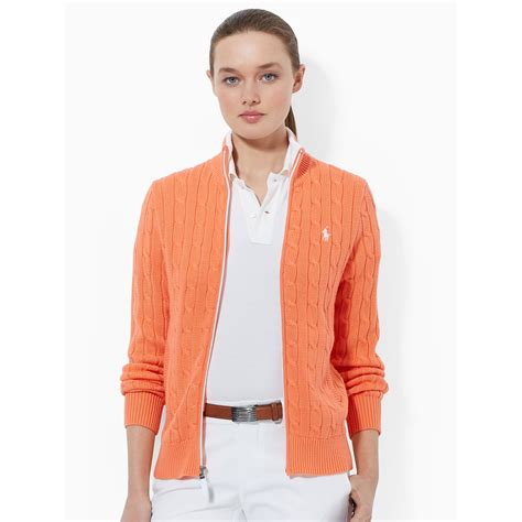 ralph cable knit sweater ralph golf cable knit zip up sweater in orange lyst