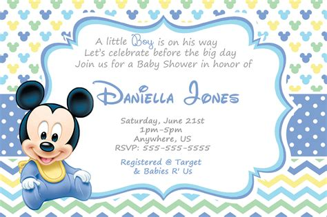 Free Mickey Mouse Baby Shower Invitation Templates how to create mickey mouse baby shower invitations all