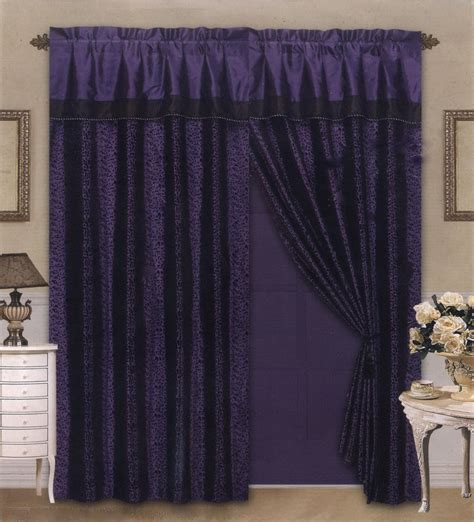 satin drapes 4 pieces satin purple black flocking leopard pattern