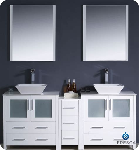 bathroom vanities with side cabinets 72 quot fresca torino fvn62 301230wh vsl modern sink bathroom vanity w one side cabinet