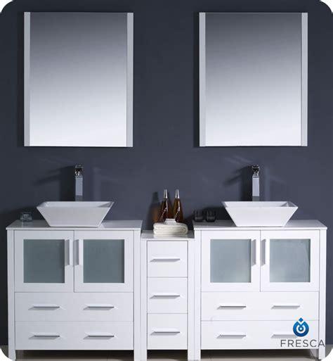 Bathroom Vanities 2 Sinks 72 Quot Fresca Torino Fvn62 301230wh Vsl Modern Double Sink