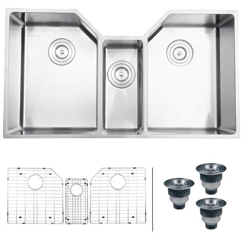 3 bowl stainless steel kitchen sinks ruvati undermount stainless steel 35 in 16 gauge triple