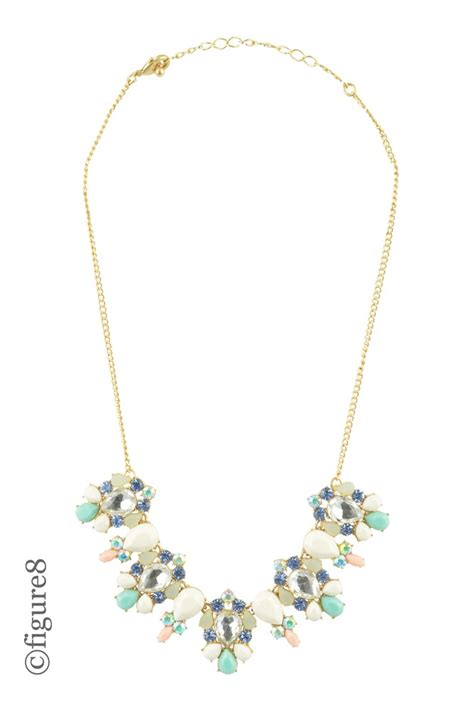 pastel jeweled statement necklace in green pink by