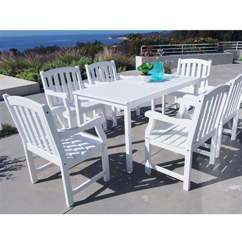 White Patio Dining Table And Chairs Vifah Bradley Acacia White 7 Patio Dining Set With 32 In W Table And Arched Slat Back