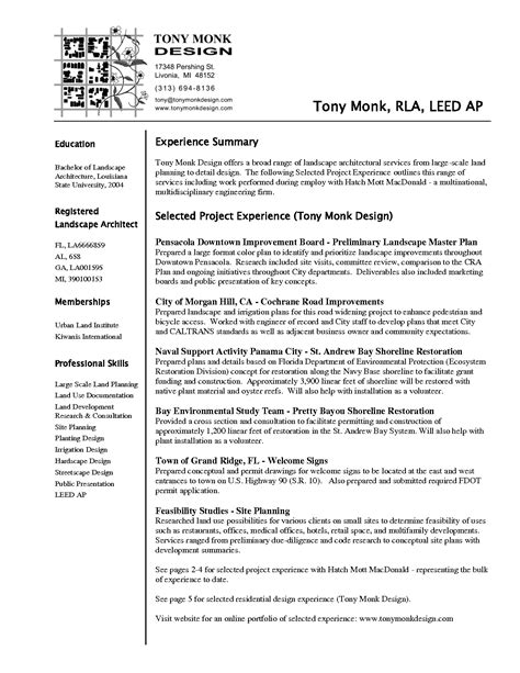 Sle Resume Of Landscape Architect Architect Resume Sle Sales Architect Lewesmr