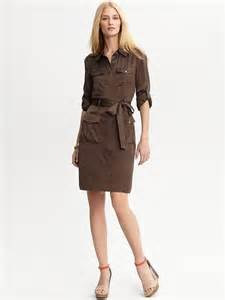 banana republic heritage safari shirt dress in brown barn