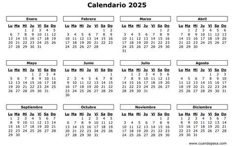 Calendario De 2025 Calendario 2025