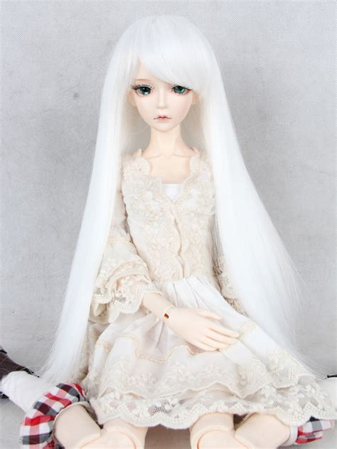 jointed doll white hair white wig bjd wig ponytail