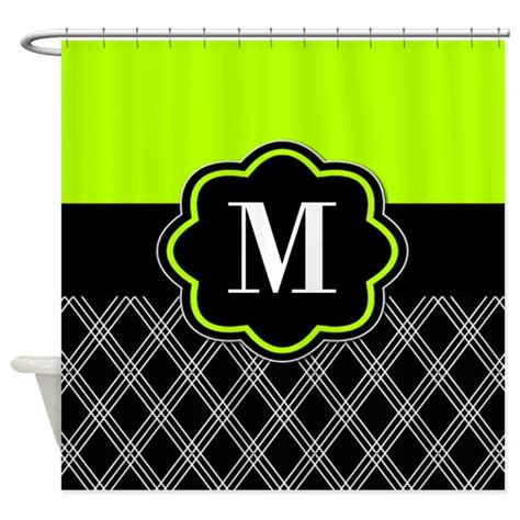 green and black shower curtain lime green black monogram shower curtain by