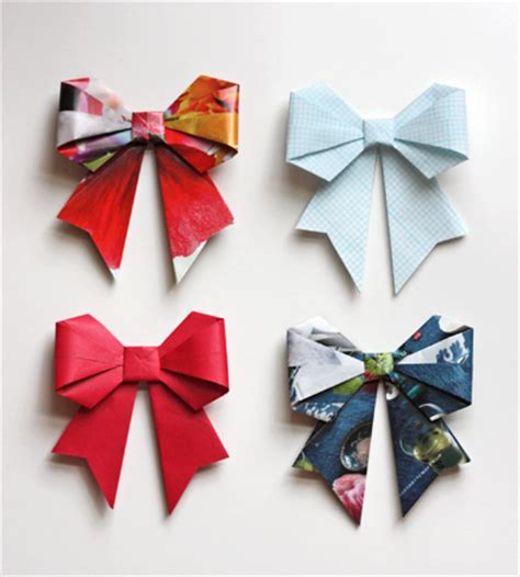 Paper Bows - make origami bows from magazine pages design inspiration