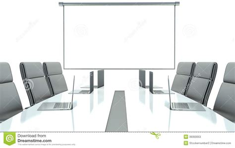 Armchair For Desk Meeting Room With Projection Screen And Conference Table