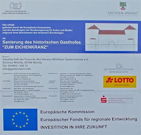 Baustellenschild Sachsen Anhalt by Gartenreich Info Eichenkranz