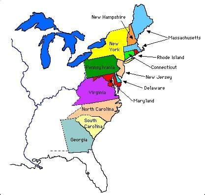 colonie map 13 thirteen original colonies facts information