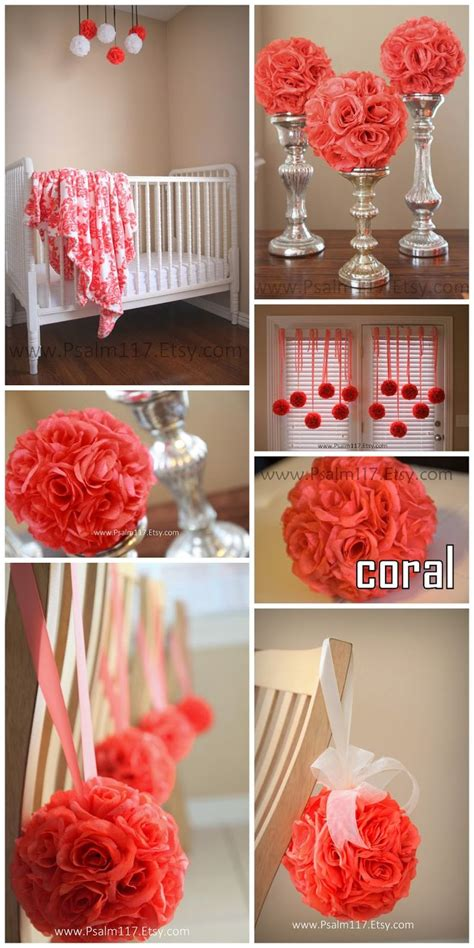 turquoise and coral wedding reception my smallest 4 5 inch wide coral pomanders even hang