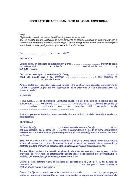 contrato de arrendamiento de local comercial contratos mercantiles on emaze