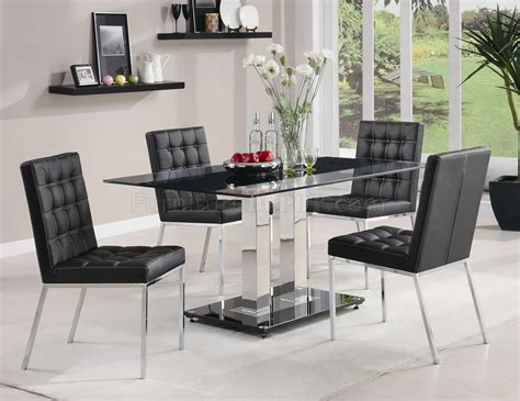 coaster 5 pc kimball collection contemporary style black tempered glass top modern 5pc dining set w chrome finish base