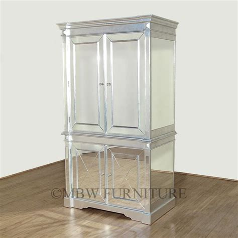 silver armoire silver art deco mirrored armoire wardrobe home decor
