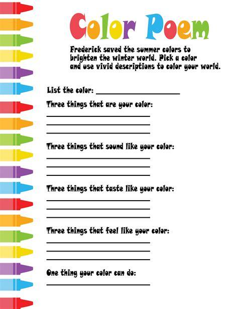 write in color color poem teaching poetry poem homework