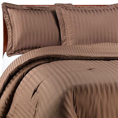 Wamsutta 174 Damask Stripe Comforter Set In Chocolate Bed Stripe Bedding Sets