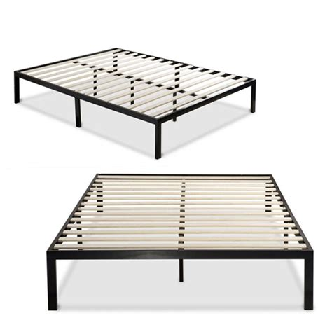 King Bed Frame Slats King Size Modern Black Metal Platform Bed Frame With Wooden Slats Fastfurnishings