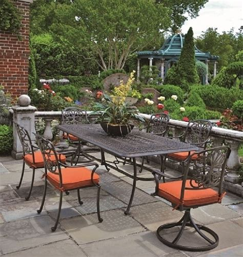 aluminum outdoor furniture sets by hanamint luxury cast aluminum patio furniture 6 person dining set w swivel chairs
