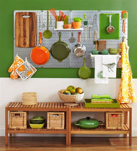 Kitchen Pegboard Ideas metal pegboards with various shelves and hooks to store all the