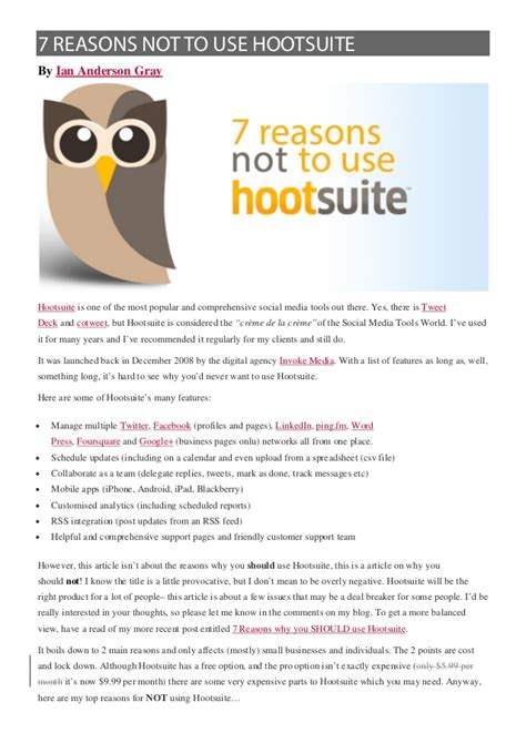 7 Reasons To Use by 7 Reasons Not To Use Hootsuite