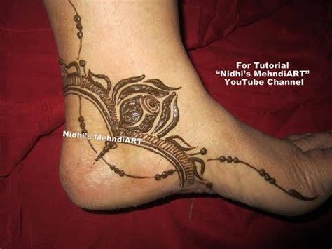 stunning gulf style rose flowery side feet henna mehndi