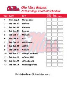 colors schedule ole miss rebels football schedule 2016 printable schedule