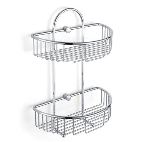 Chrome Curved Two Tier Shower Caddy Basket With Hooks Bathroom Shower Baskets