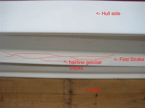 fiberglass boat repair crack hairline gelcoat cracks on outside of hull strakes the
