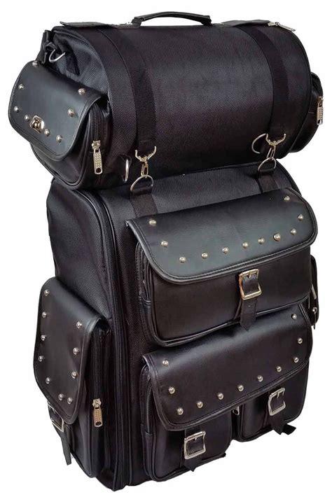 motorcycle large studded sissy bar travel bar bag back pack travel luggage black