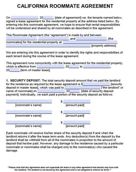 room rental agreements california free california roommate agreement template pdf word