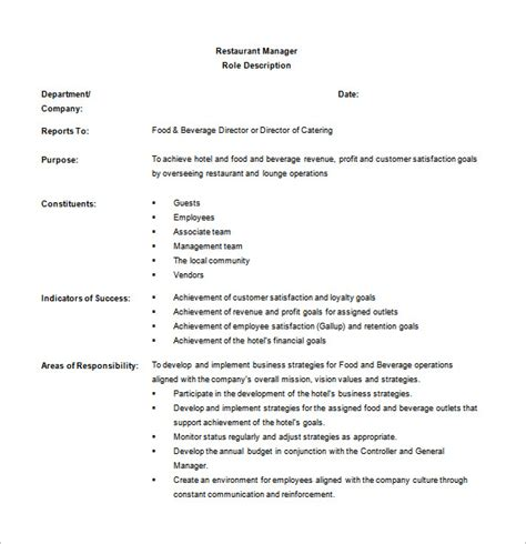 restaurant manager job description templates 10 free