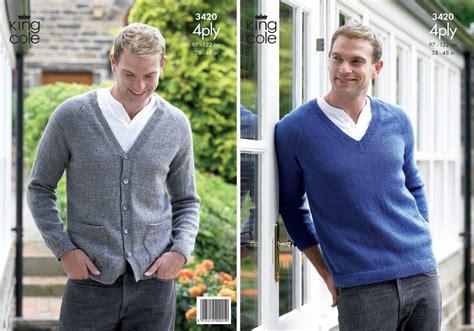 v neck jumper pattern knitting king cole mens knitting pattern big value 4 ply v neck
