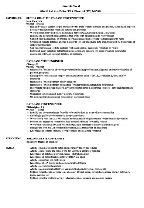 sle resume for experienced database test engineer database test engineer resume sles velvet