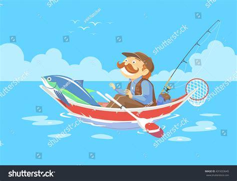 cartoon boat vector free cartoon man no fishing boat vector stock vector 431653645