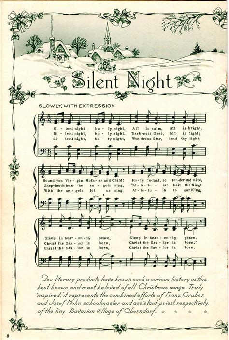 printable version christmas carol vintage silent night sheet music