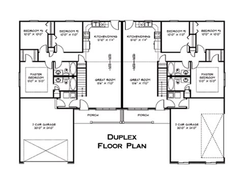 floor plan for duplex house duplex floor plan house plans pinterest