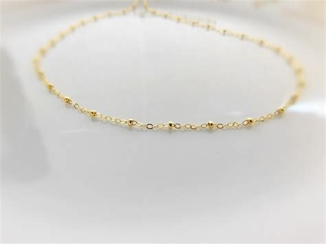 gold beaded choker satellite necklace 14k gold filled