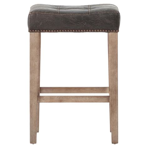 Distressed Wood Counter Stools by Milton Distressed Black Leather Tufted Counter Stool