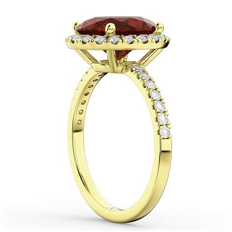 oval cut halo garnet engagement ring 14k yellow